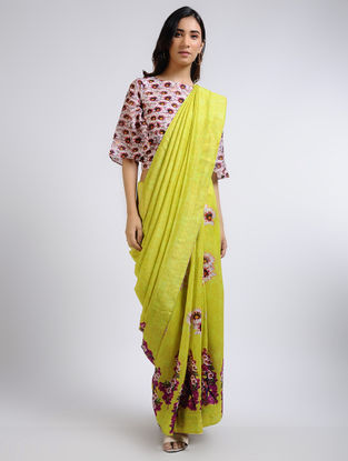 Green Printed Chanderi Saree with Blouse (Set of 2)
