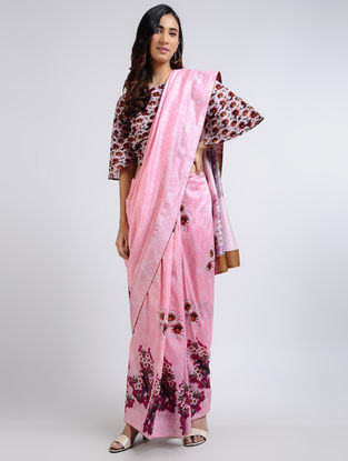 Pink Printed Chanderi Saree with Blouse (Set of 2)