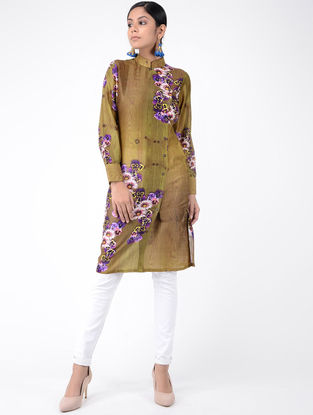 Green Printed Chanderi Tunic