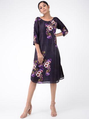 Blue Printed Chanderi Dress