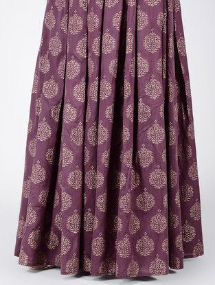 Mauve Block-printed Box-pleated Cotton Silk Skirt
