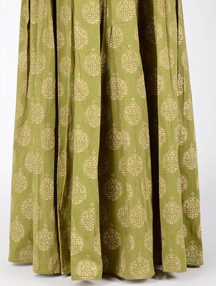 Green Block-printed Box-pleated Cotton Silk Skirt