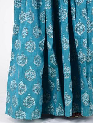 Turquoise Block-printed Box-pleated Cotton Silk Skirt