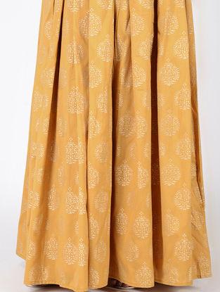 Yellow Block-printed Box-pleated Cotton Silk Skirt
