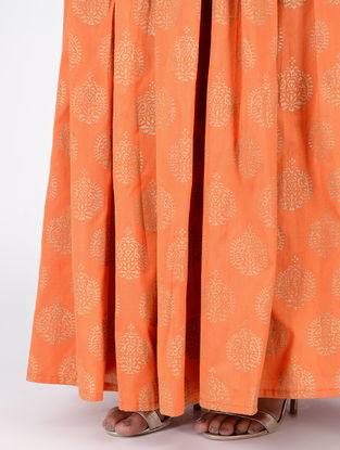 Orange Block-printed Box-pleated Cotton Silk Skirt