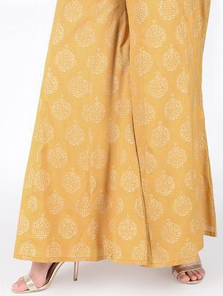 Yellow Block-printed Elasticated Waist Cotton Silk Palazzos