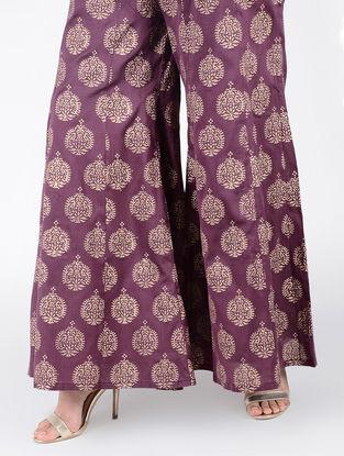 Mauve Block-printed Elasticated Waist Cotton Silk Palazzos