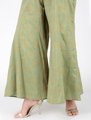 Green Block-printed Elasticated Waist Cotton Silk Palazzos