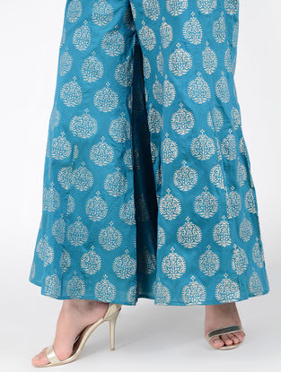 Turquoise Block-printed Elasticated Waist Cotton Silk Palazzos