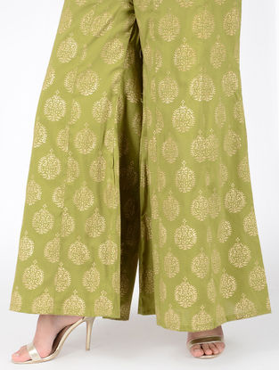 Green Block-printed Elasticated Waist Cotton Silk Palazzos