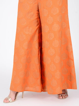 Orange Block-printed Elasticated Waist Cotton Silk Palazzos
