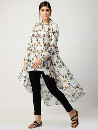 Ivory Printed Chanderi Top with Asymmetrical Hem