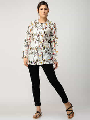 Ivory Printed Chanderi Top