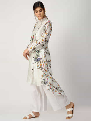 Ivory Printed Chanderi Kurta with Asymmetrical Hem