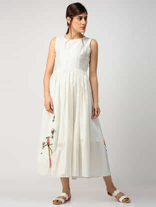 Ivory Printed Gathered Chanderi Dress
