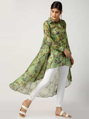 Green Printed Chanderi Top with Asymmetrical Hem