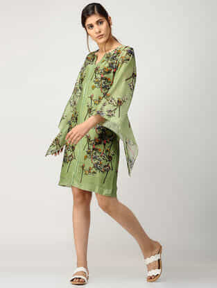 Green Printed Chanderi Dress