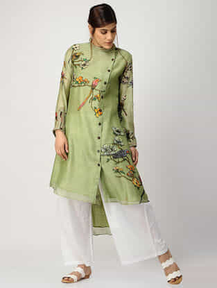 Green Printed Chanderi Kurta with Asymmetrical Hem