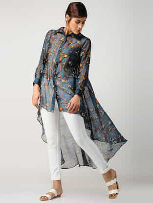 Blue Printed Chanderi Top with Asymmetrical Hem