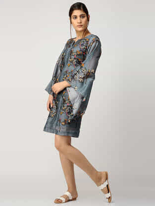 Blue Printed Chanderi Dress