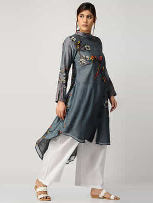 Blue Printed Chanderi Kurta with Asymmetrical Hem