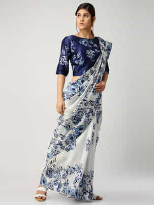 Ivory-Blue Printed Chanderi Saree with Blouse (Set of 2)