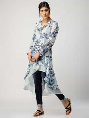 Ivory-Blue Printed Chanderi Tunic with Asymmetrical Hem