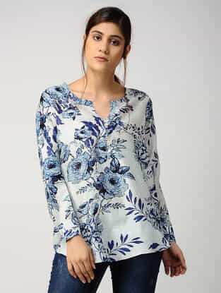 Ivory-Blue Printed Chanderi Top with Asymmetrical Hem