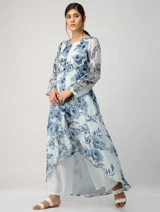 Ivory Blue Printed Chanderi Kurta with Asymmetrical Hem