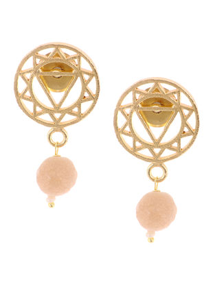 Agate Gold Tone Brass Earrings