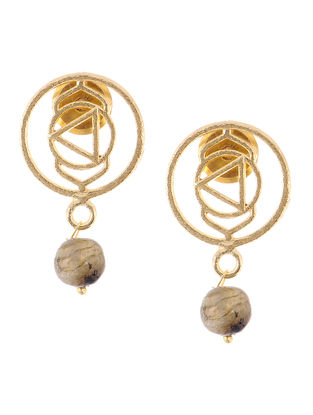 Labradorite Gold Tone Brass Earrings