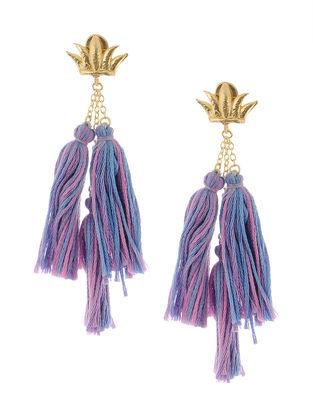 Pink-Blue Gold Tone Brass Earrings with Tassels