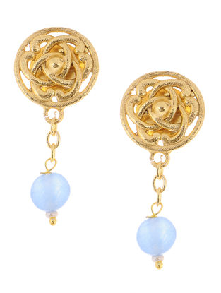 Blue Chalcedony Gold Tone Brass Earrings