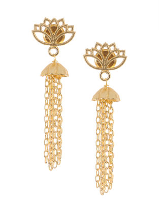 Classic Gold Tone Brass Earrings with Lotus Design