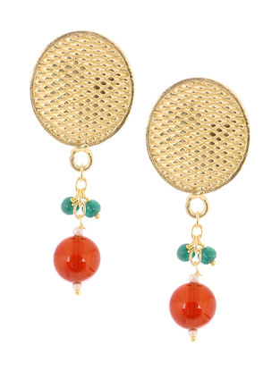 Carnelian Gold Tone Brass Earrings