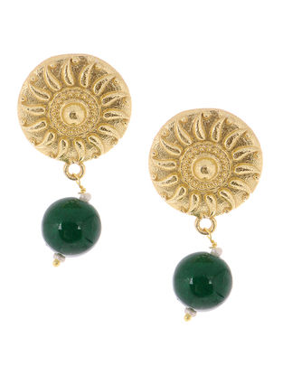 Green Onyx Gold Tone Brass Earrings
