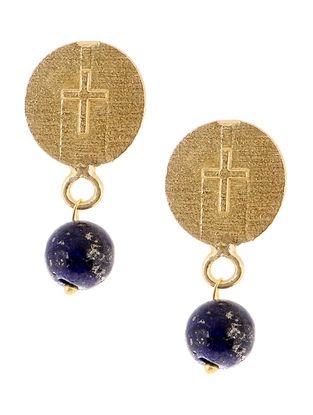 Lapis Lazuli Gold Tone Brass Earrings
