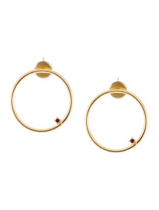 Maroon Gold Tone Brass Earrings