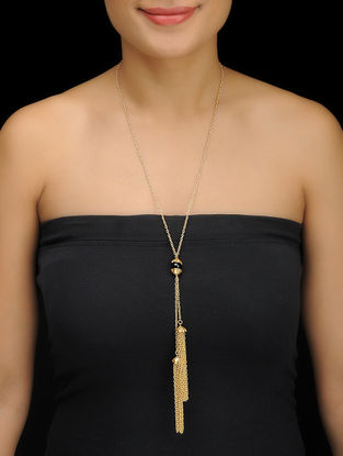 Black Gold Tone Brass Necklace with Tassels