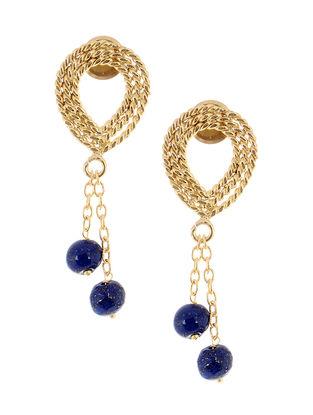 Lapis Lazuli Gold Tone Brass Earrings