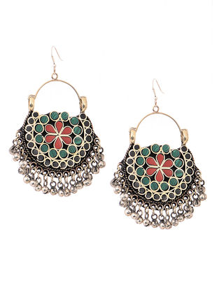 Green-Red Earrings with Floral Motif