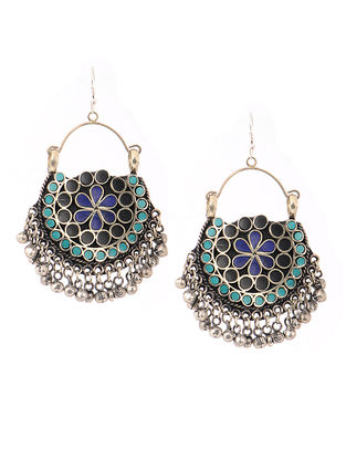 Blue-Black Earrings with Floral Motif