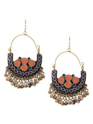 Orange-Blue Brass Earrings