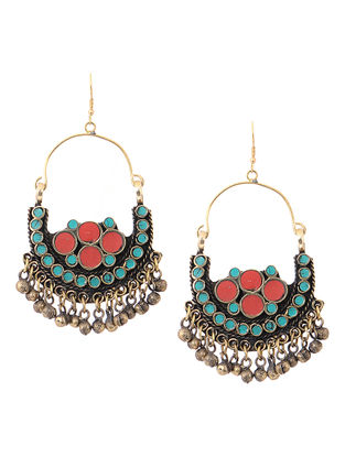 Turquoise-Red Brass Earrings