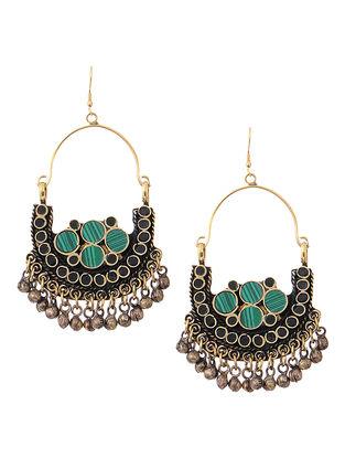 Green-Black Brass Earrings
