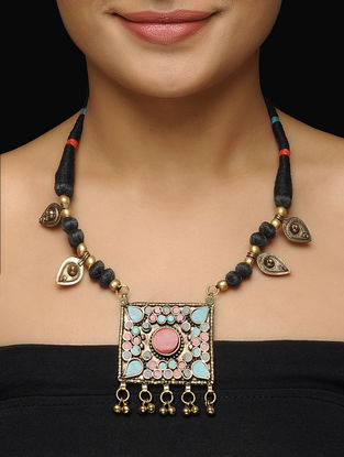 Black Thread Brass Necklace