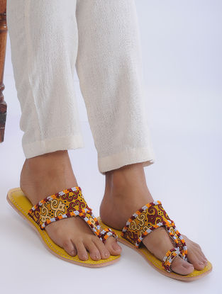 Yellow Handcrafted Mashroo and Leather Flats