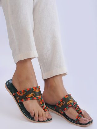 Green Handcrafted Mashroo and Leather Flats