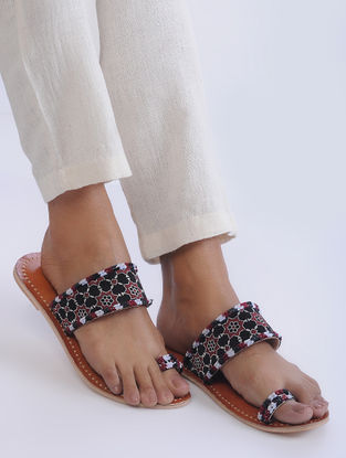 Brown Handcrafted Mashroo and Leather Flats