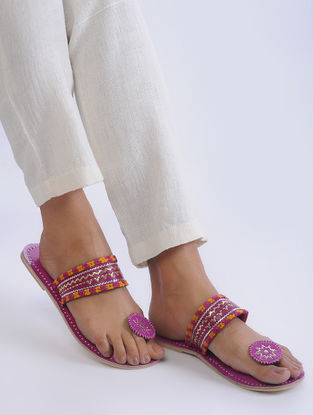 Pink Handcrafted Zari-Embroidered Leather Flats